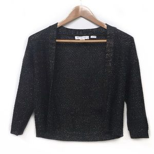 Black with gold woven petite open cardigan